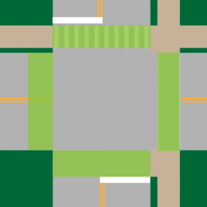 All sides of the intersection are crosswalks — marked or not, regardless of whether the sidewalk is paved or not.